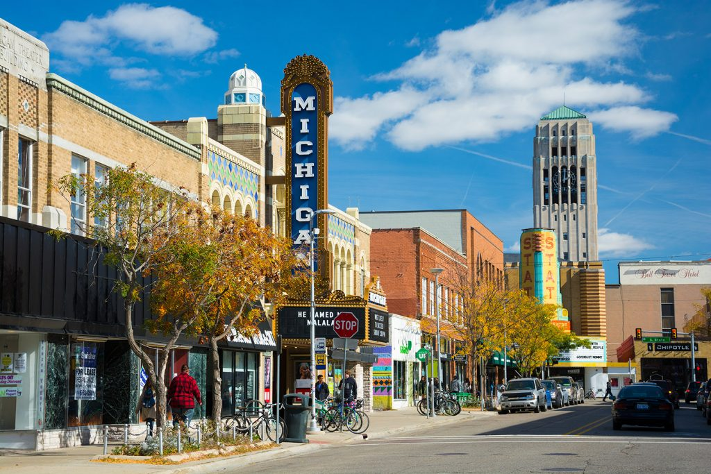 Ann Arbor street scene showing Michigan and State Theater